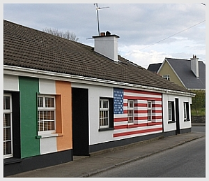 House painted in Irish and American colours